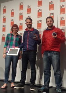 The Berghaus team: Lisa Robson, James Hodgson and Dan Horsham collect a Gold OutDoor Industry Award