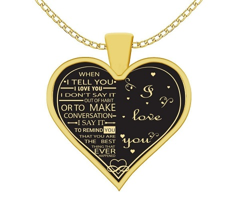 I Love My Wife Charm Gold Necklace Heart
