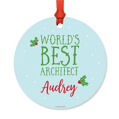 Andaz Press Personalized Metal Christmas Ornament