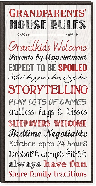 Grandparents House Rules Wall Art