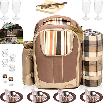 Picnic Backpack Basket Wine Cooler