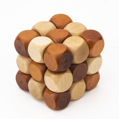 Wooden Brain Teaser Puzzle KongMing Lock