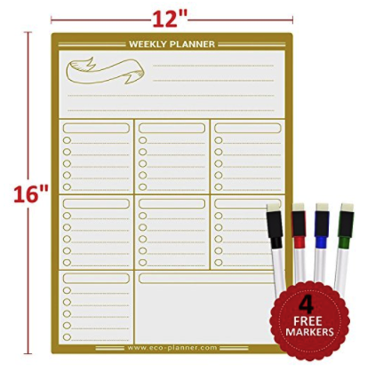 Eco Planner Weekly Multi-Purpose Magnetic Refrigerator Dry Erase Board