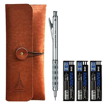 Pentel Graph Gear 1000 Mechanical Drafting Pencil 0.5mm , Pencil Case, 0.5mm Mechanical Pencil Leads 45pcs