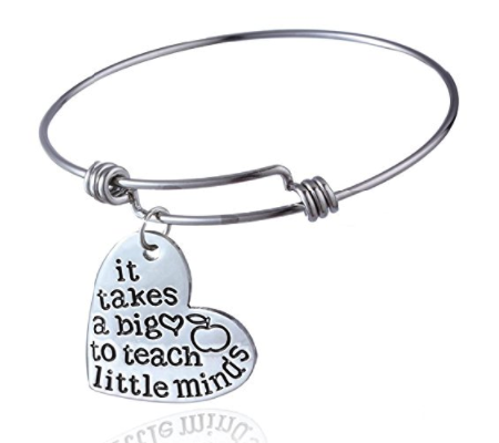 Term Begins/end Teachers Gift Bangles It takes a big heart to teach little minds Expandable Bracelets New