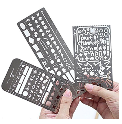 Pack of 3 Stainless Steel Drawing Ruler Painting Stencils Scale Template Sets Graphics Stencils Number Template Ruler Stencils