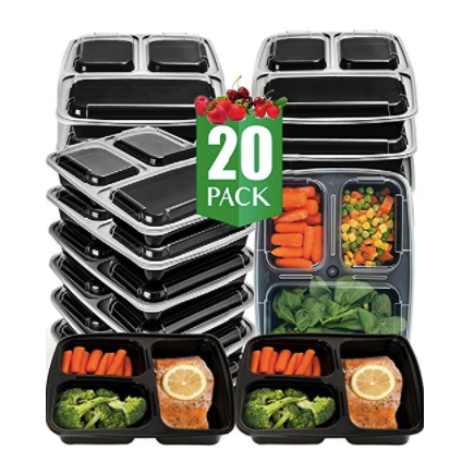 Vivaware 3 Compartment Meal Prep Containers with Lids