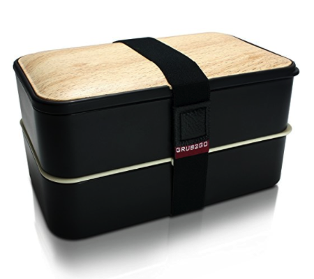 Bento Box by GRUB2GO w/ FREE Ideas Guide + Utensils - Leakproof Lunch Container - Black/Wood