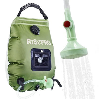 RISEPRO Solar Shower Bag 5 gallons/20L Solar Heating Camping Shower Hot Wate Removable Hose