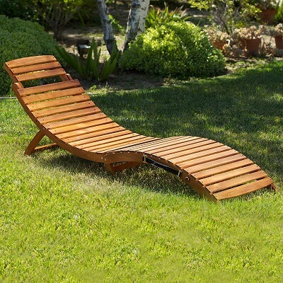 Great Deal Furniture 296060 (Set of 2) Lisbon Outdoor Folding Chaise Lounge Chair