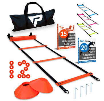 Pro Agility Ladder and Cones - 15 ft Fixed-Rung Speed Ladder