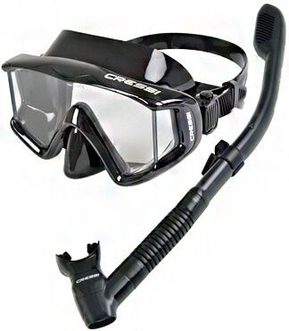 Cressi Panoramic Wide View Mask & Dry Snorkel Kit for Snorkeling