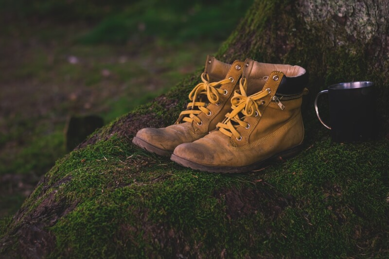 Basic Hiking Gear - Shoes and a cup